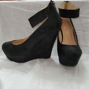 Black suede wedge with ankle strap